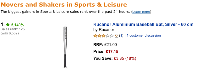 Today's sign of the apocalypse?  Sales of aluminum bats on Amazon.co.uk are up 5,149% in the last 24 hours .   (Thanks,  @erikmal )