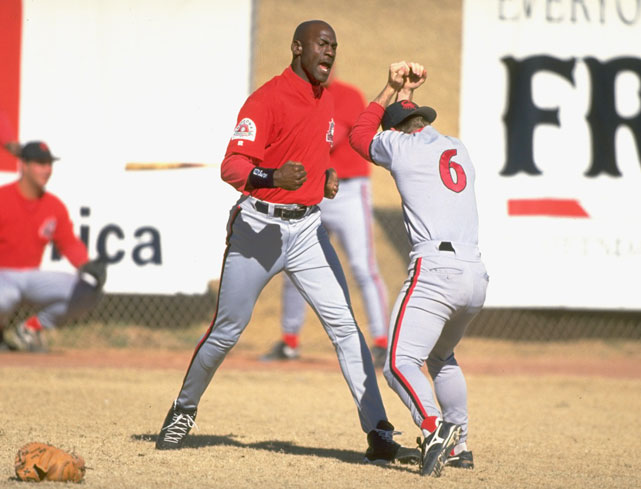 siphotos :     Scottsdale Scorpions outfielder Michael Jordan (play) fights with a teammate during practice. Jordan played in Scottsdale during the 1994 Fall League. (V.J. Lovero/SI)    GALLERY :  Michael Jordan Playing Baseball