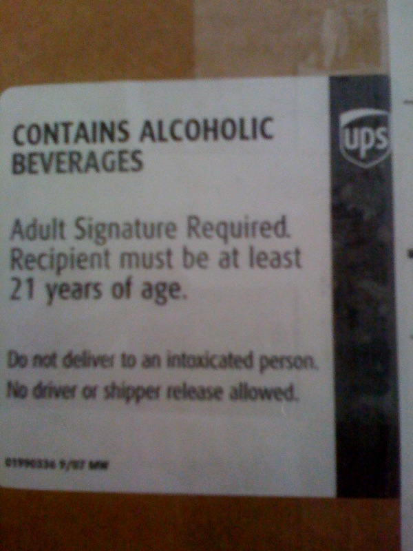 "My favorite condition: ""Do not deliver to an intoxicated person."""