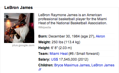 LBJ's Google+ picture is of him playing the violin. But the real question is why is LBJ on Google+?