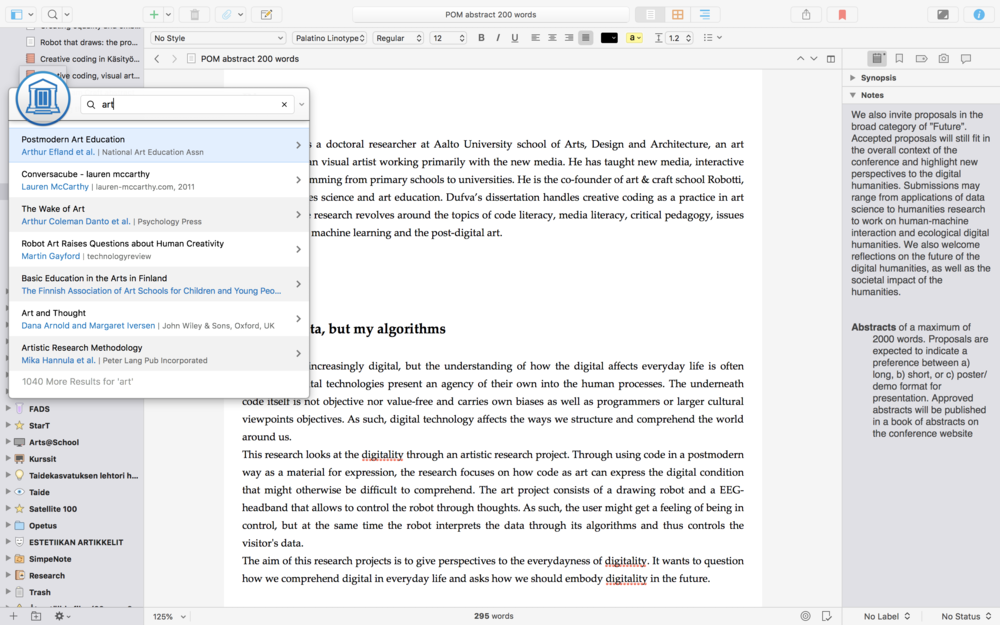 Scrivener with Papers quick search window