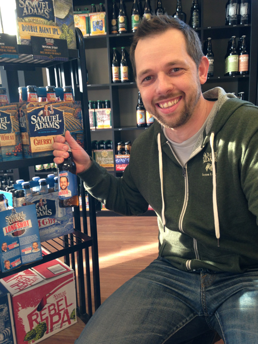 Cesar and his prize-winning Sam Adams beer