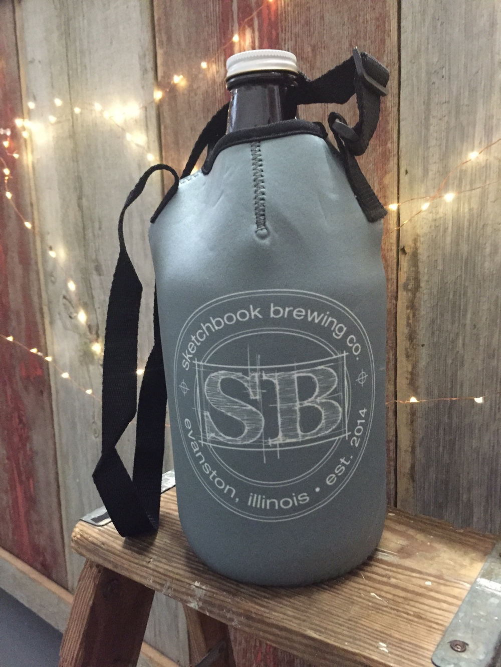 our snazzy growler carrier...made of neoprene