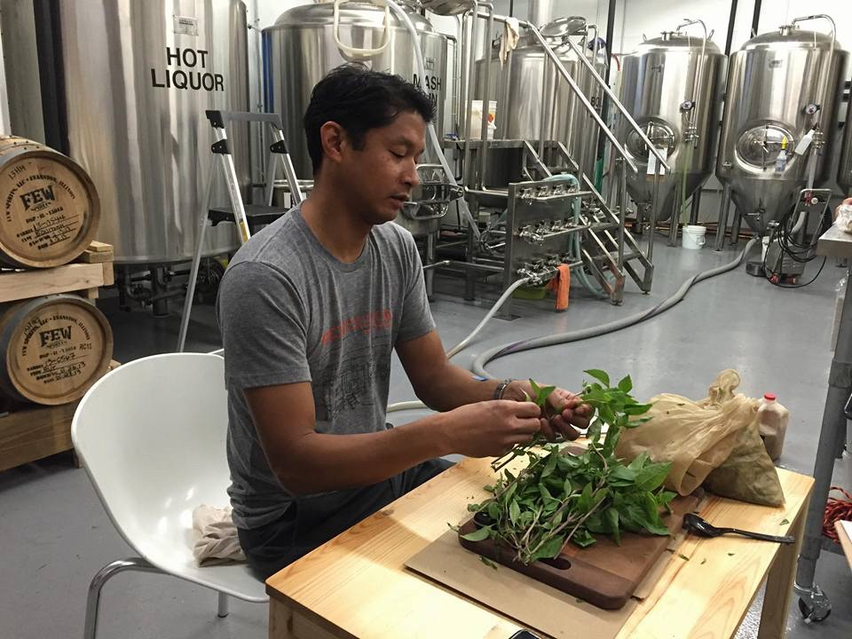 Ted Perez lovingly preparing basil for our Honey Bird ale