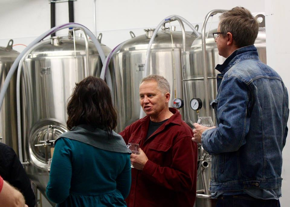 Shawn leading tour in the brewery
