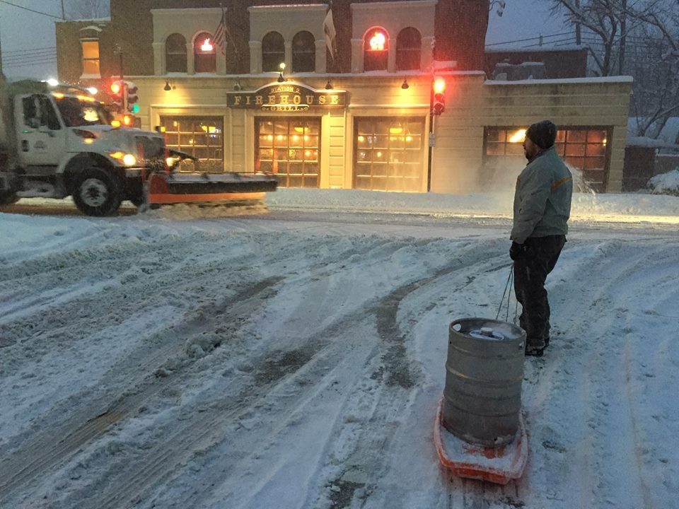 Winter 2015: Cesar delivering beer to Firehouse