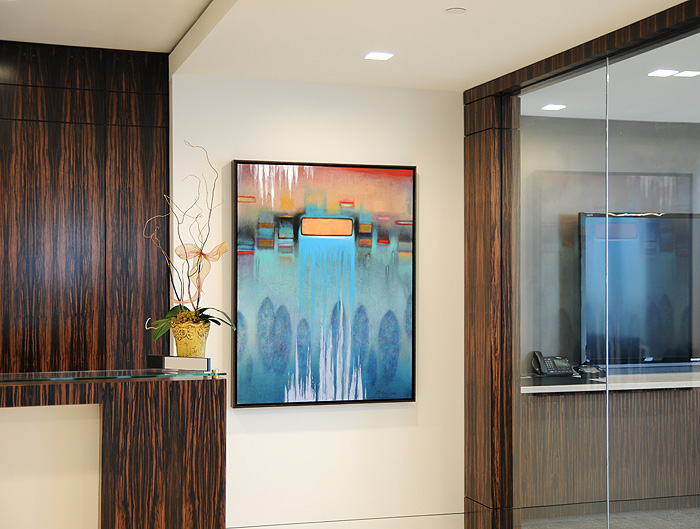 Large Framed Abstract painting for a New Contemporary Reception Area.