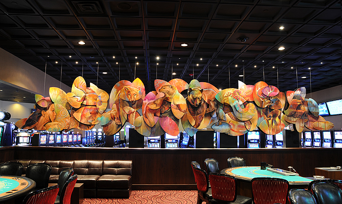 31 foot long 2 sided 3D Painting/Sculpture hanging in a the Seminole Casino in South Florida