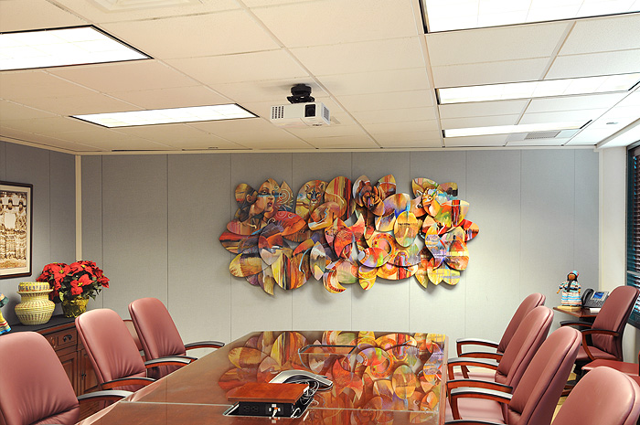 Contemporary 3D artwork in an Conference Room
