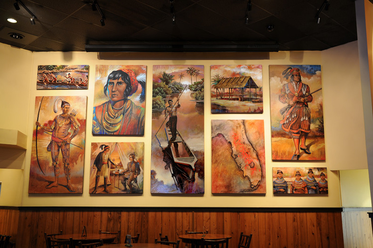 Large Custom Historical Paintings in The Seminole Casino Restaurant.