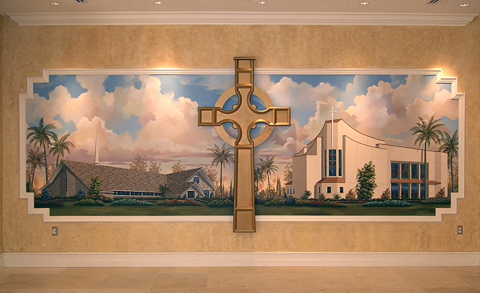 Large Custom Painting Depicting an Old and newly rebuilt Church.