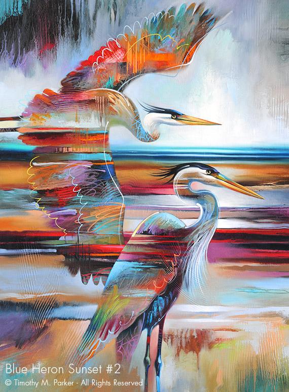 Blue Heron Sunset 2 Abstract Bird Fine Art Print