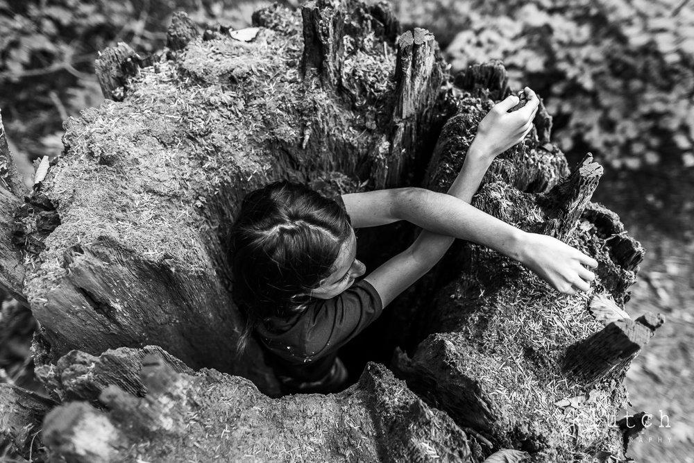 Girl inside old stump