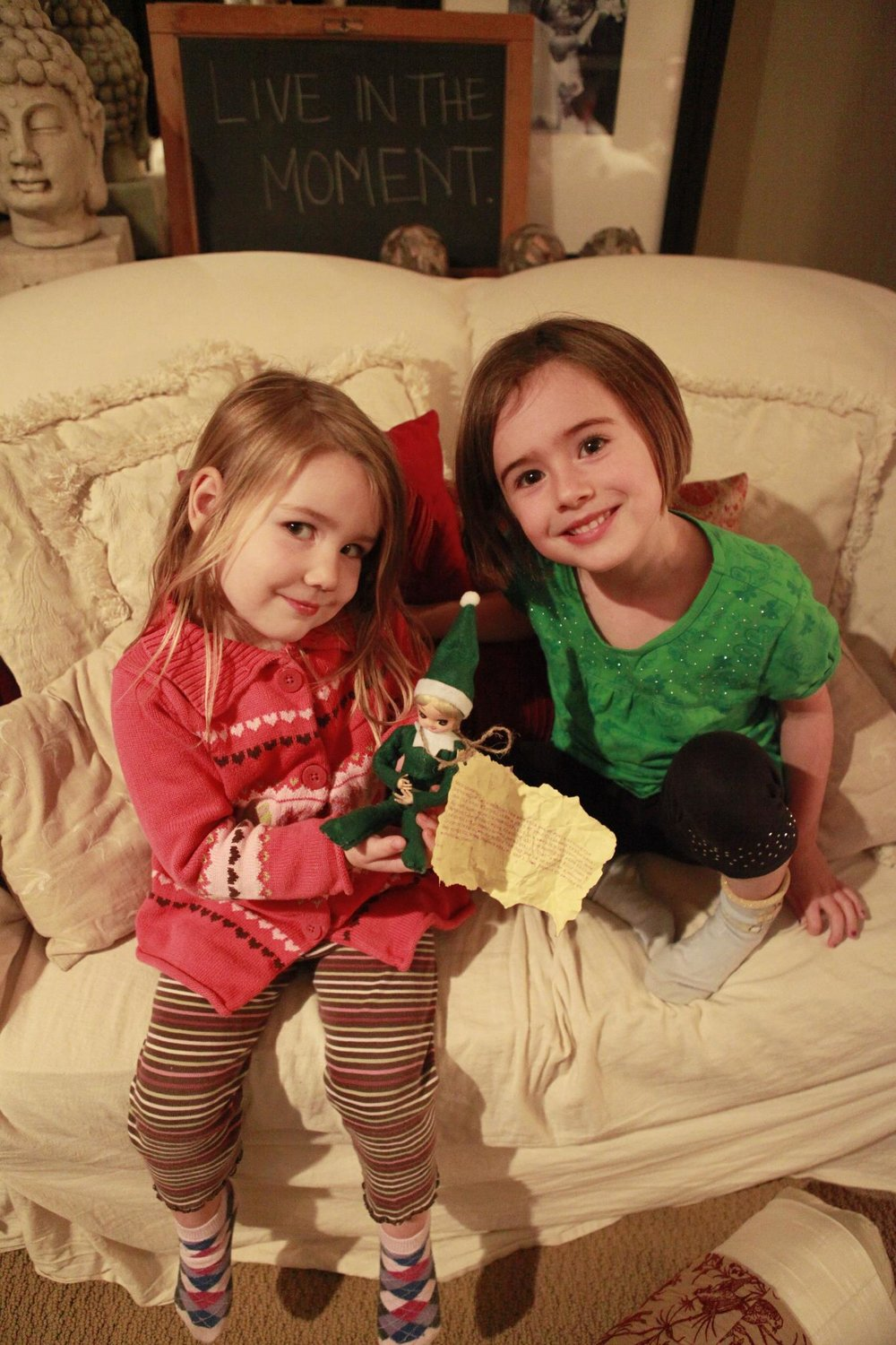 December 4th, 2011-Elly the elf arrives in our house. Amara was three and Che' was six.