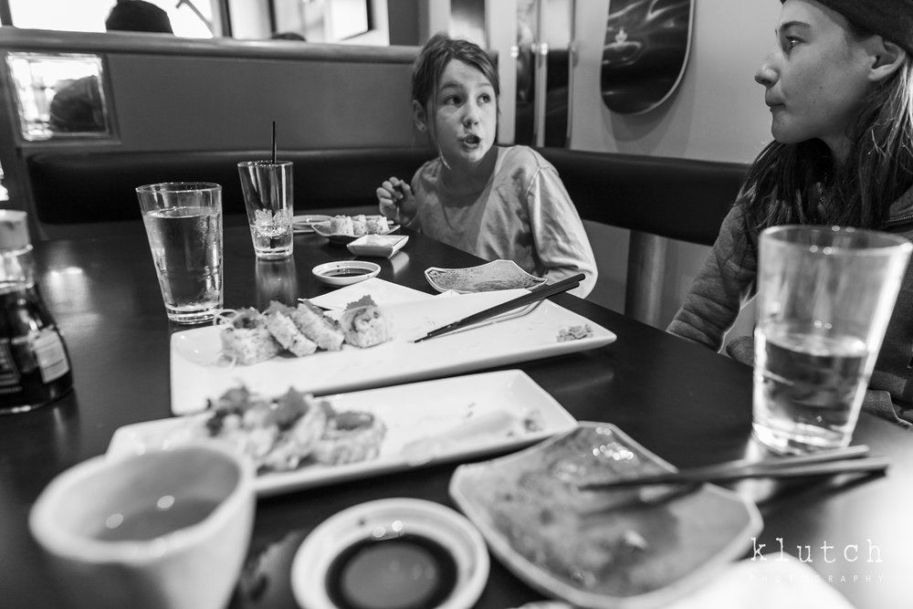 Girls eating sushi-Surrey Family Photographer. Vancouver family photographer, klutch Photography, documentary photography, Vancouver documentary photographer, candid photography, lifestyle photographer, a day in the life session, family photography, Vancouver Photographer, Surrey Family Photographer, White Rock family Photographer, Dina Ferreira Stoddard-6155.jpg