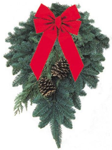 "Swag - Approx: 20"" x 25""What could be more traditional than a beautiful Swag? It is made from freshly cut Noble Fir, Cedar and decorated with natural cones and a beautiful red velvet bow."