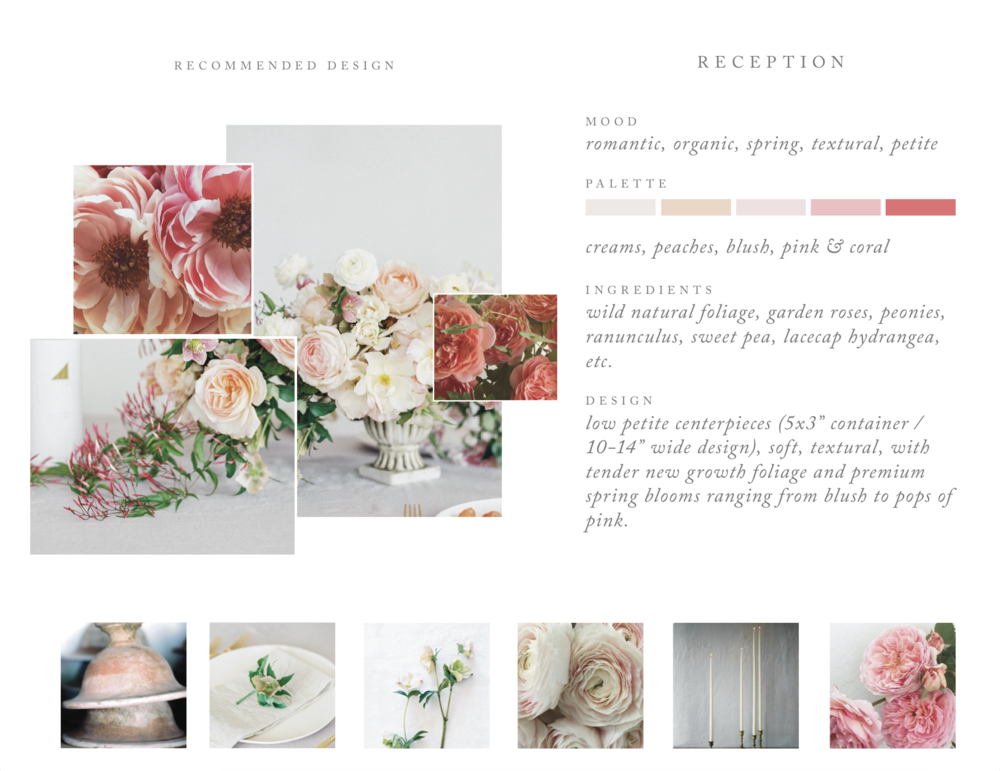 We thoughtfully create a vision board for our full-service clients to help art direct the tablescapes into a gorgeous space that will fit the mood, palette and theme of the event and will make for an enjoyable environment for guests to dine and celebrate through the evening.