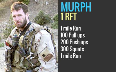Michael Murphy | Age 29 | Patchogue, NY   Navy Lieutenant who was killed in Afghanistan June 28th, 2005. This workout was one of Mike's favorites and he'd named it 'Body Armor.' From here on it will be referred to as 'Murph' in honor of the focused warrior and great American who wanted nothing more in life than to serve this great country and the beautiful people who make it what it is.