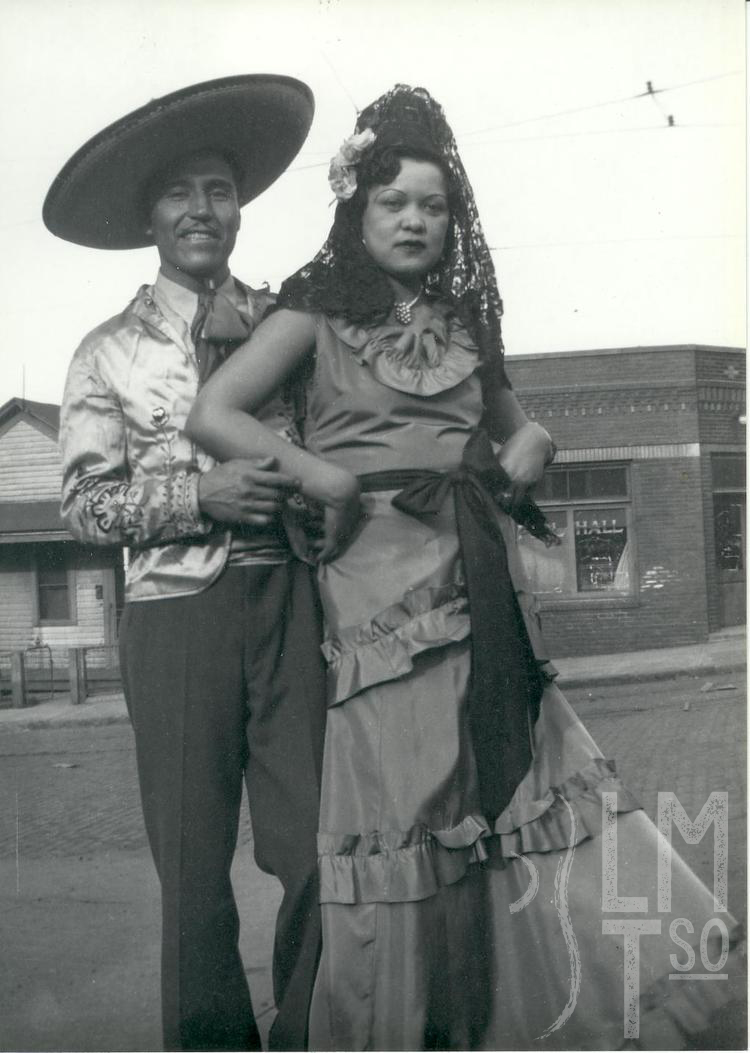 1930s Panfilo Barrientos, Eduarda Rodriguez on South 24th Street at Mexican celebration