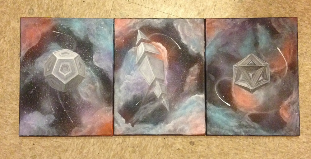 These three pictured are work in progress underpaintings done by myself.