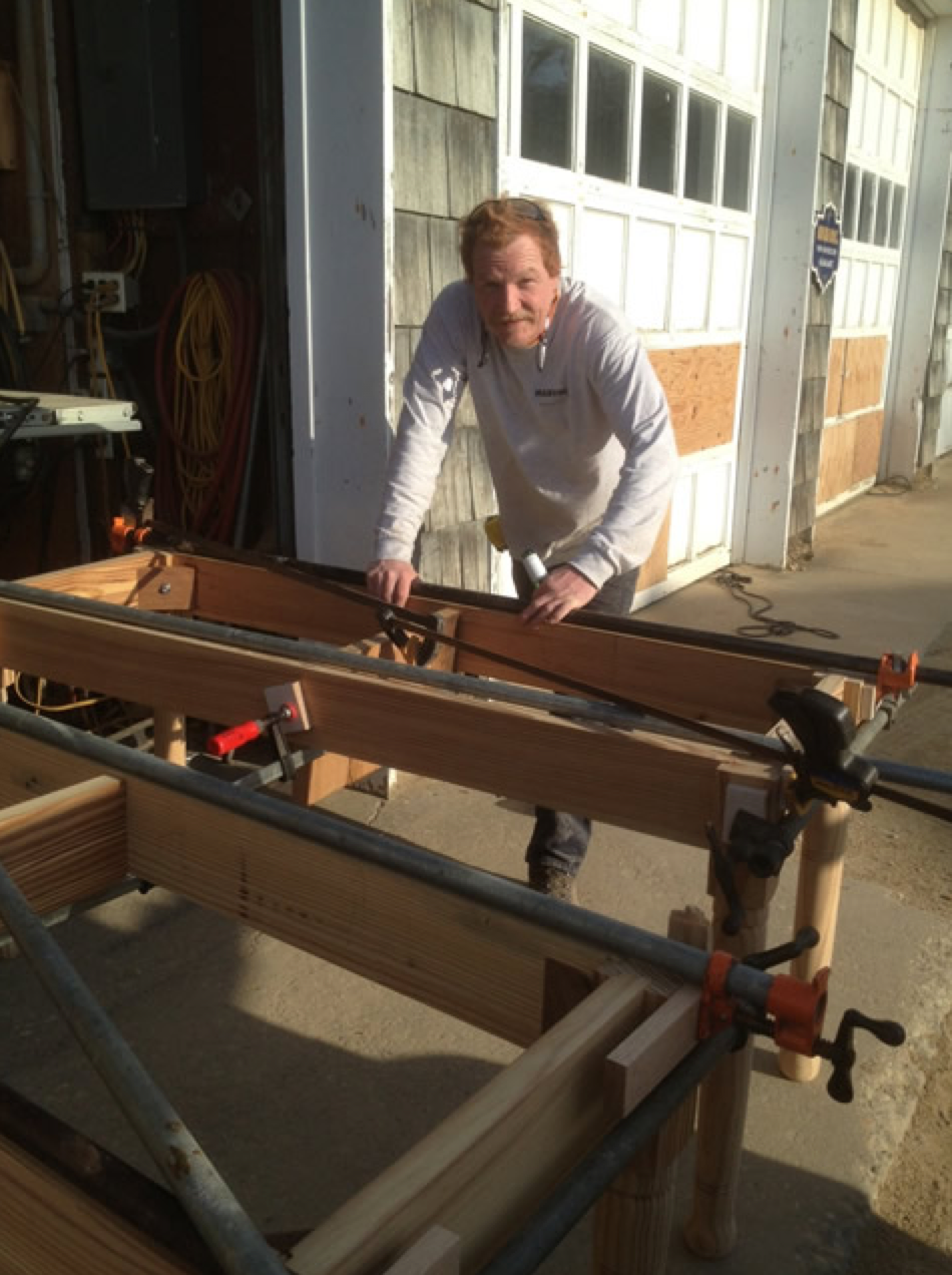 Check out owner Sylvester Schneider, building the new Biergarten tables with his own hands.