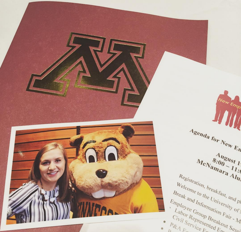I was going to caption this photo 'Me and my other boss' but in reality, it's probably just a sweaty student dressed in a Gopher costume who was forced to work new employee orientation.