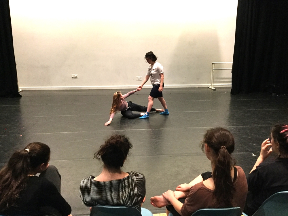 Katie and Zoe rehearsing on stage at the Actors Fund Arts Center - fellow dancers watch their run-through