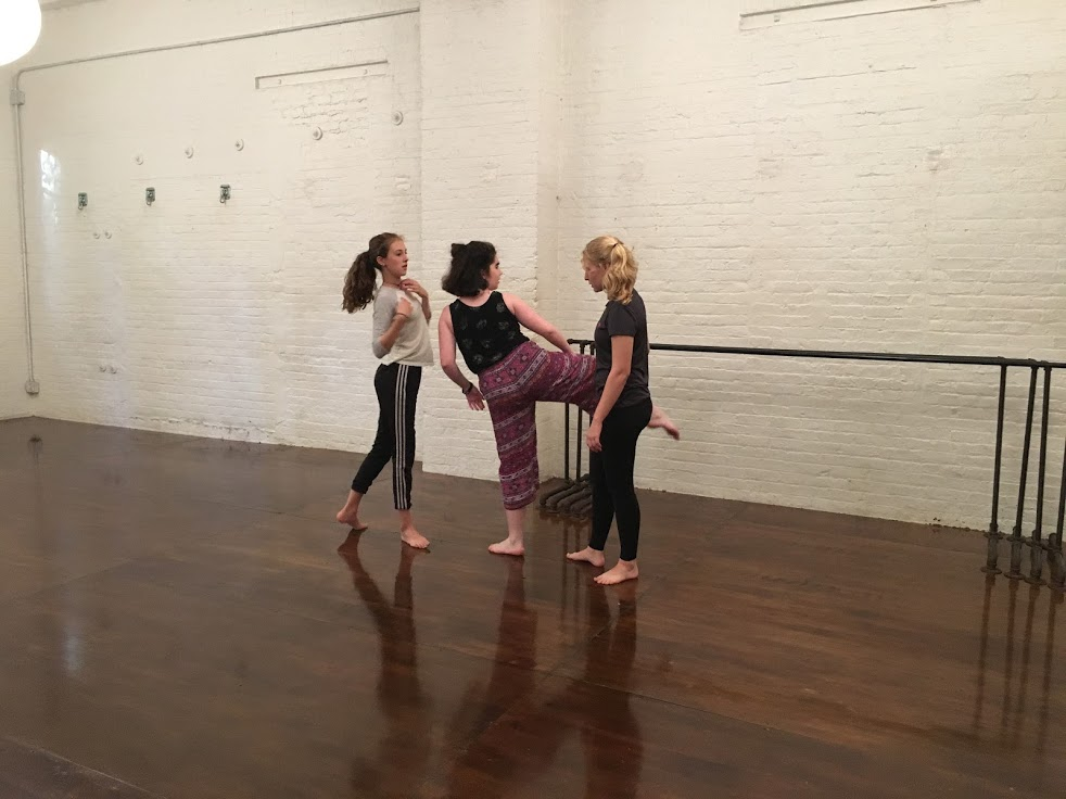 Aggie rehearsing with e.g.dance students in November 2016