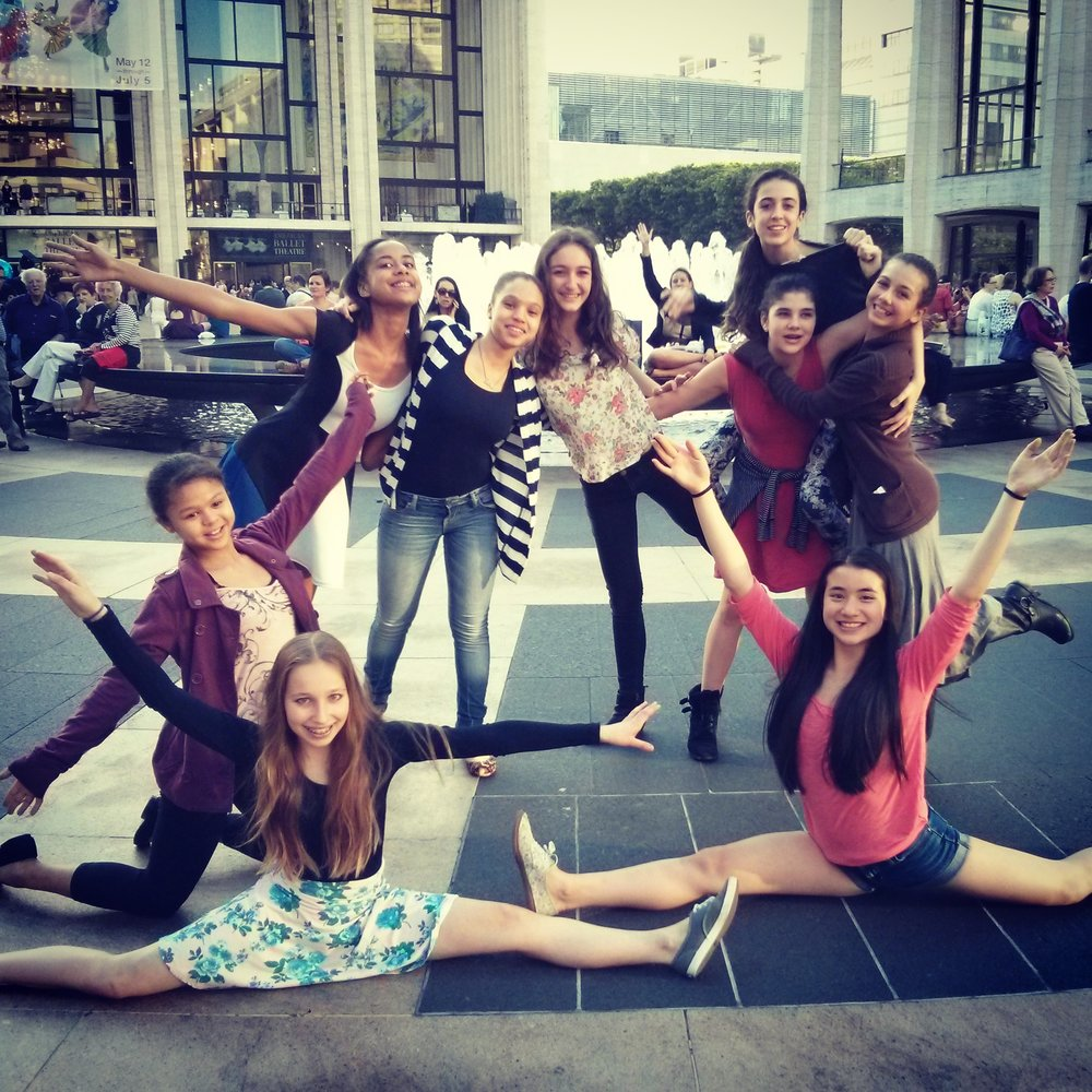 Lulu (standing, furthest right) at Lincoln Center with e.g.dance classmates, attending ABT performance. Spring 2015