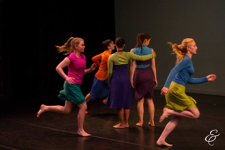 "Claire (left, in pink top) performing in Kate Digby's ""Here/Waiting"" in e.g.dance performance in May 2016. Photo by Ebbe Sweet Photography"