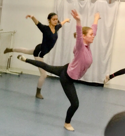 Claire in ballet class in 2018.