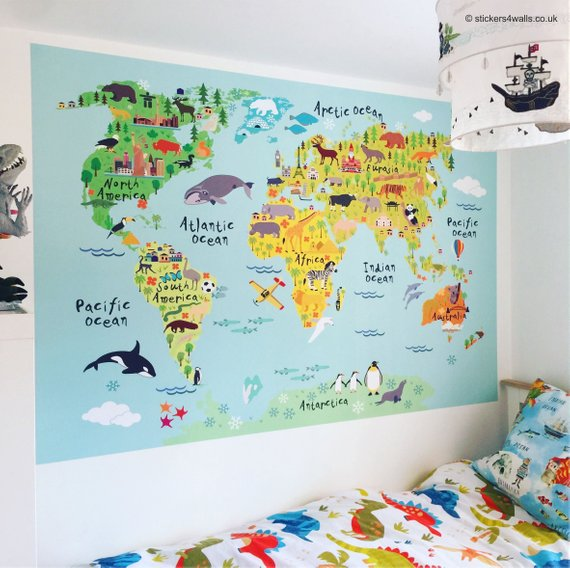 A map wall decal creates a colorful and fun feature wall.  Etsy
