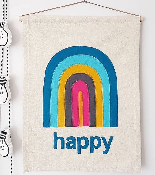 inspire feel good vibes with colorful accessories and furniture   Charming retro inspire banners from  The Happy Sunday Studio