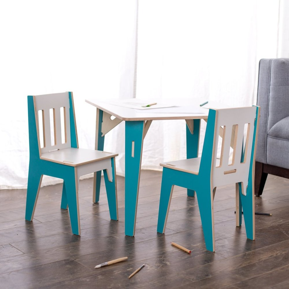 Consider a chic table and chair set, that you wont mind sitting next to your own furniture at  Sprout