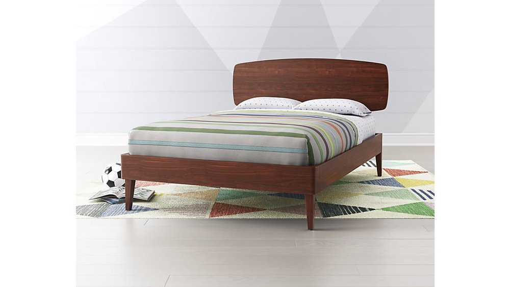 We're loving on this super clean lined mid-century bed from  Crate and Barrel