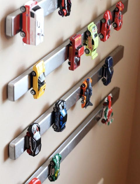Give them all the tools for Tiding Up, they need. (Not that they will use…but we can dream). How ingenious is this? Matchbox cars on magnetic knife racks! Get this person a Nobel Prize!