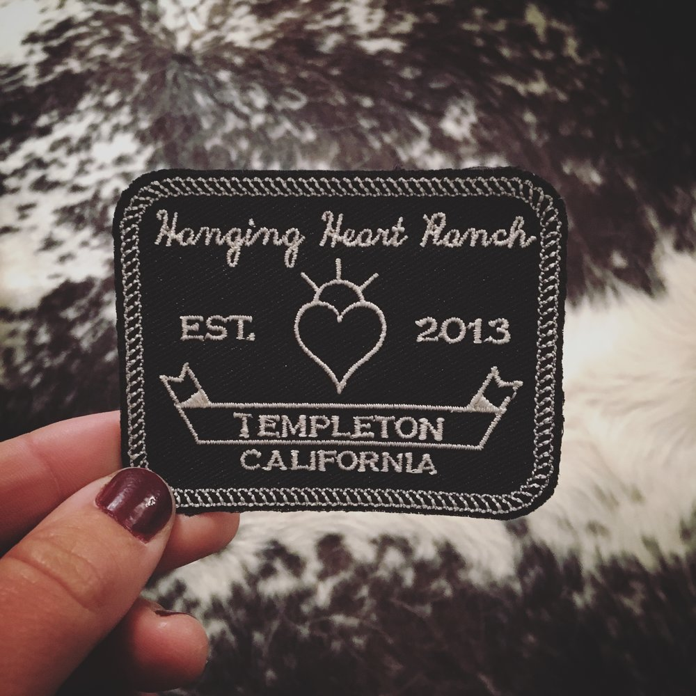 Iron-On Patches $5   Hanging Heart Ranch embroidered patches with iron on backing.  Available at the Ranch!