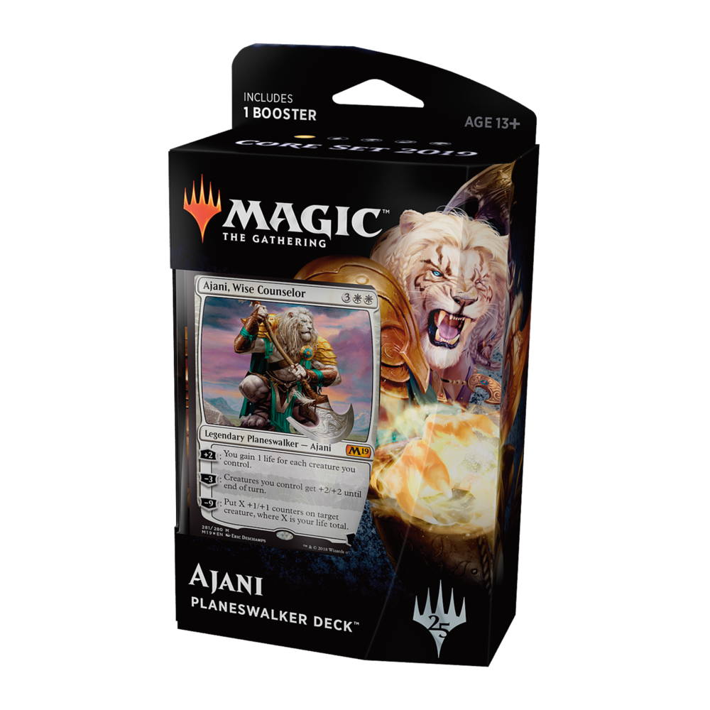 Ajani - A veteran warrior of unmatched skill, Ajani protects the weak and mentors aspiring heroes. Gather battalions of small fighters, bolster their strength, and overwhelm your opponent.