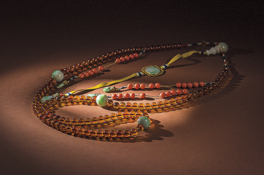 Court-necklace-with-brass-detail-and-jade-and-coral-beading