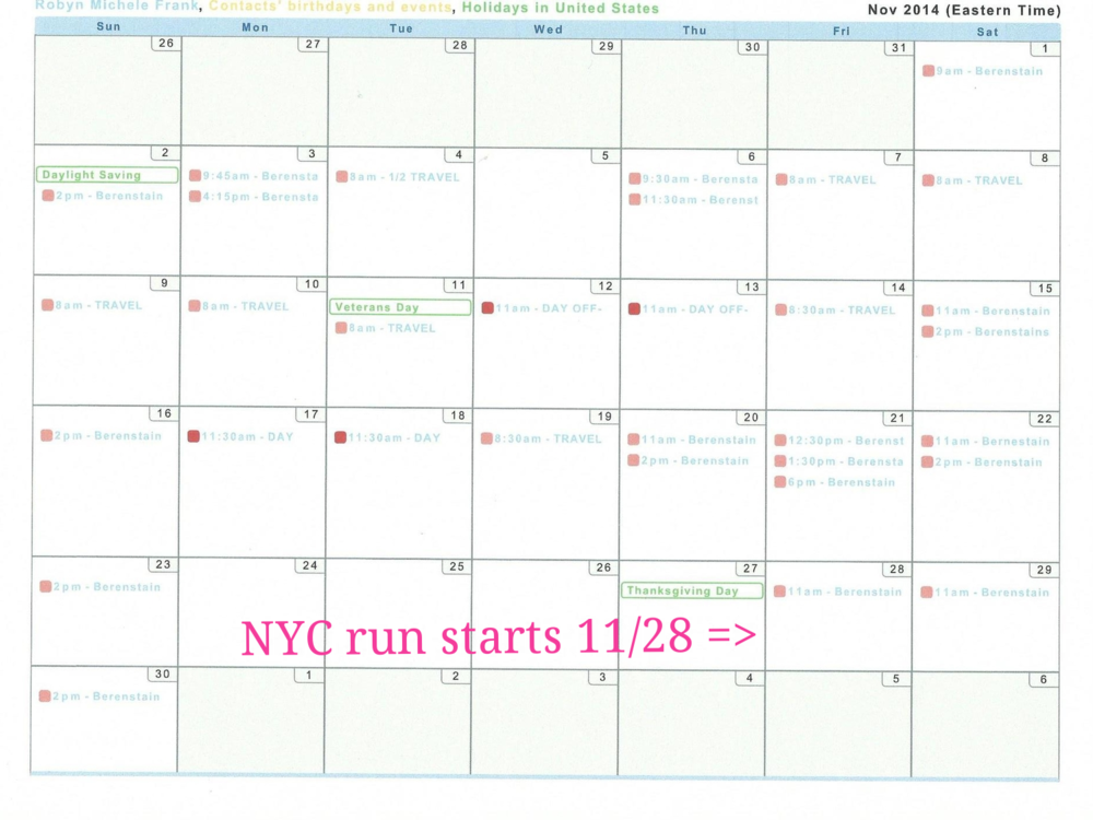November 2014 Performance Calendar