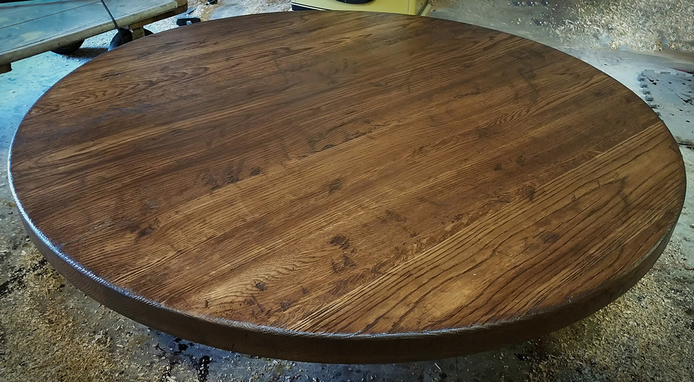 Thick Round Distressed Table Top