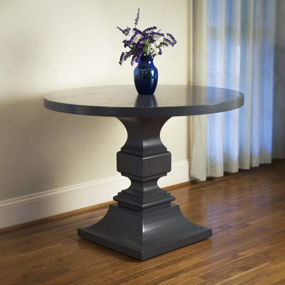 Gray Grey Contemporary Square base round top table