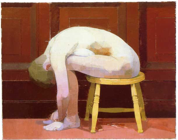 Curled Nude on Stool, 1982, oil on canvas 30 x 39