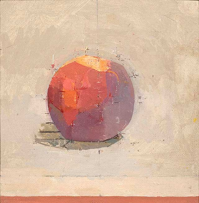 "Peach I Young 1999 Oil on canvas laid on panel 6"" x 6"""