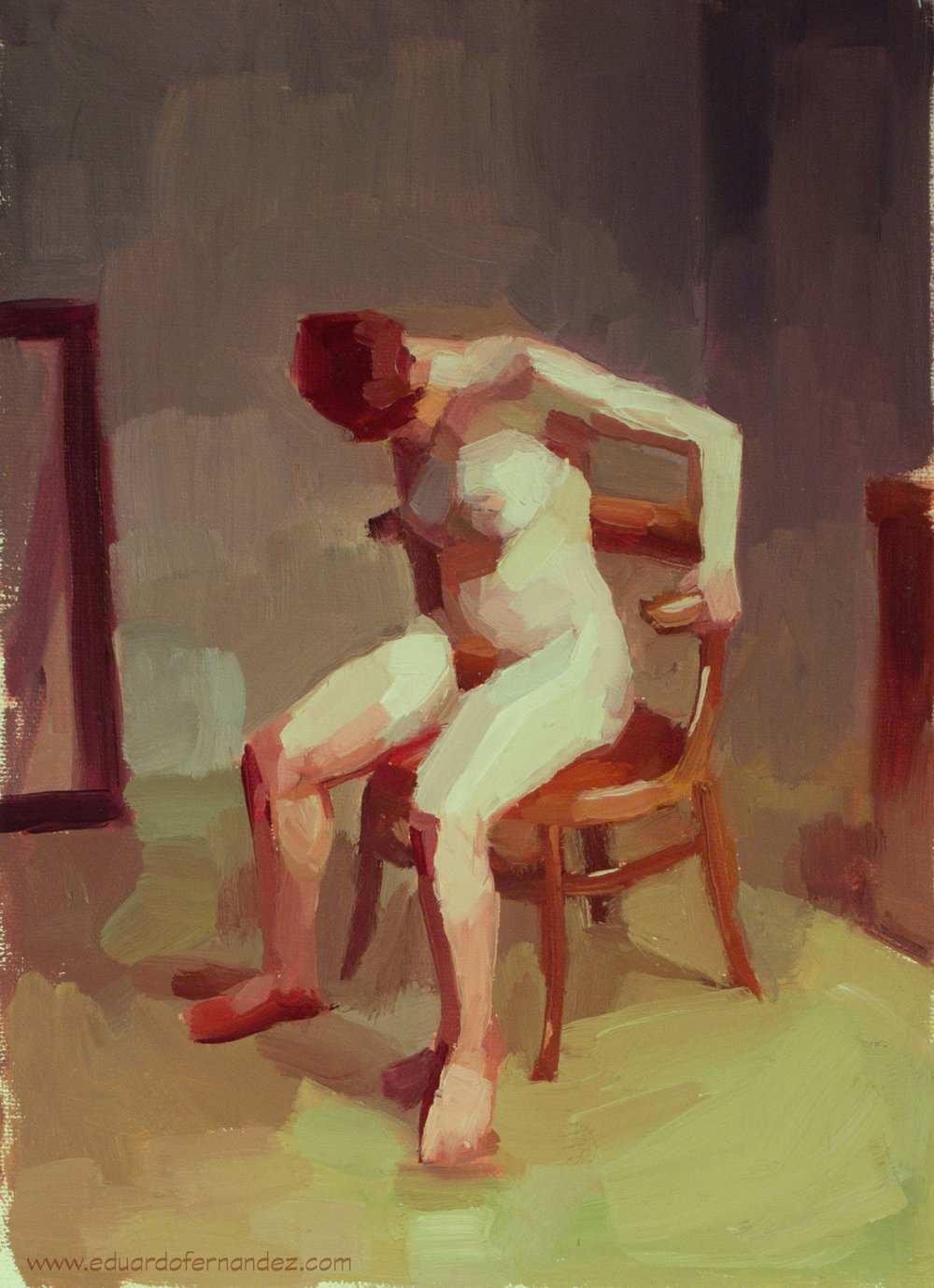 "After Uglow by Eduardo Fernandez, oil, 9"" x 12"""