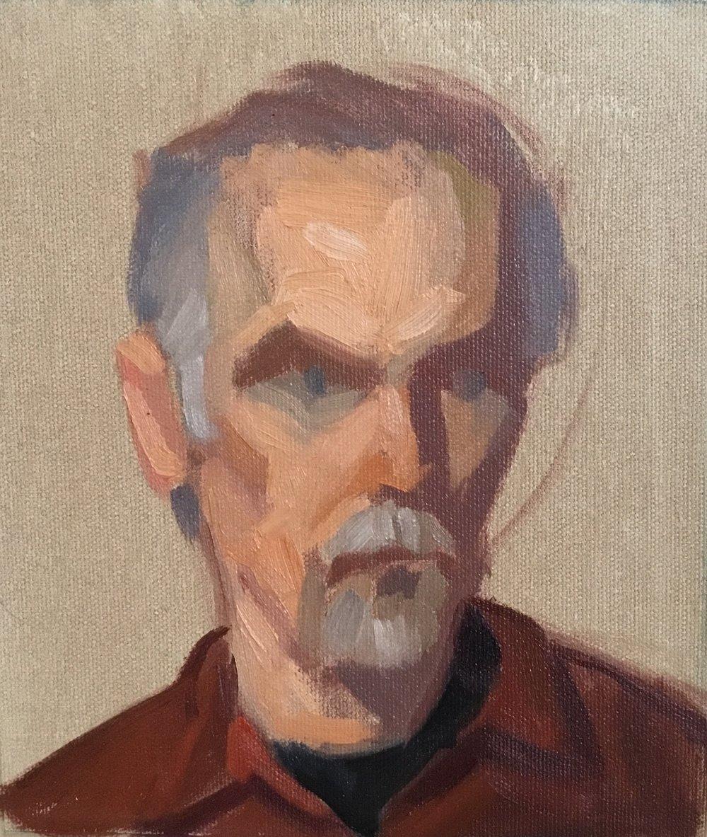 Block-in of Jordan, 6 x8, oil on canvas