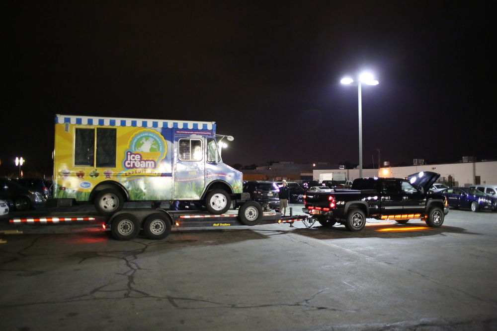 Loading an ice cream truck at 4:00 am