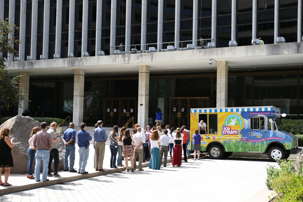 Serving ice cream out of Betty one last time at National Geographic HQ