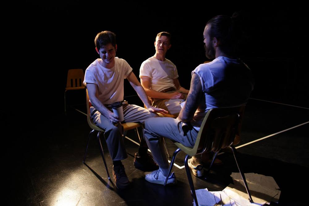 SALESMEN // by Theatre Reconstruction Ensemble // directed by John Kurzynowski  Lights // HERE Arts Center  Photo by Suzi Sadler