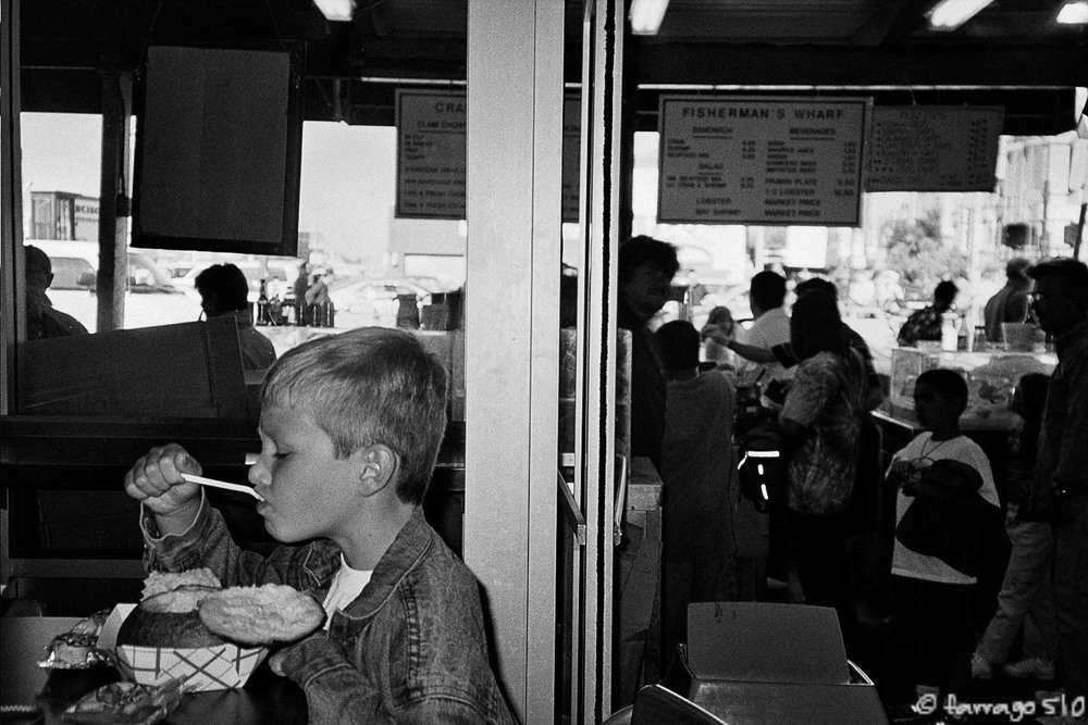 Alec, about age 8, on Fisherman's Wharf, SF